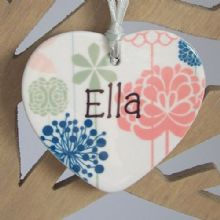 Floral Bridesmaid Hearts (Set of 4) - Personalised Christmas Tree Decorations